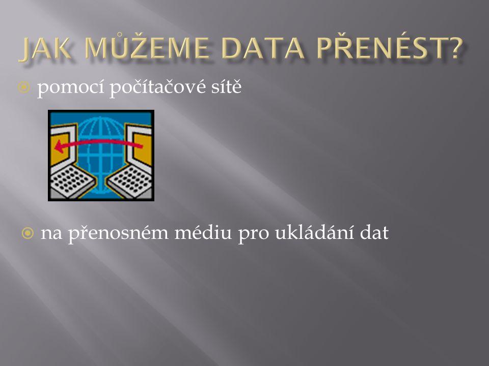  pomocí počítačové sítě  na přenosném médiu pro ukládání dat
