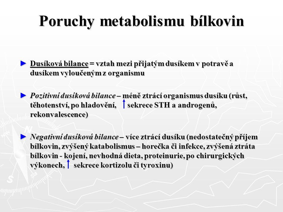 Poruchy metabolismu bílkovin ► Dusíková bilance = vztah mezi přijatým dusíkem v potravě a dusíkem vyloučeným z organismu ► Pozitivní dusíková bilance