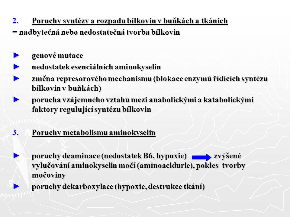 2.Poruchy syntézy a rozpadu bílkovin v buňkách a tkáních = nadbytečná nebo nedostatečná tvorba bílkovin ► genové mutace ► nedostatek esenciálních amin