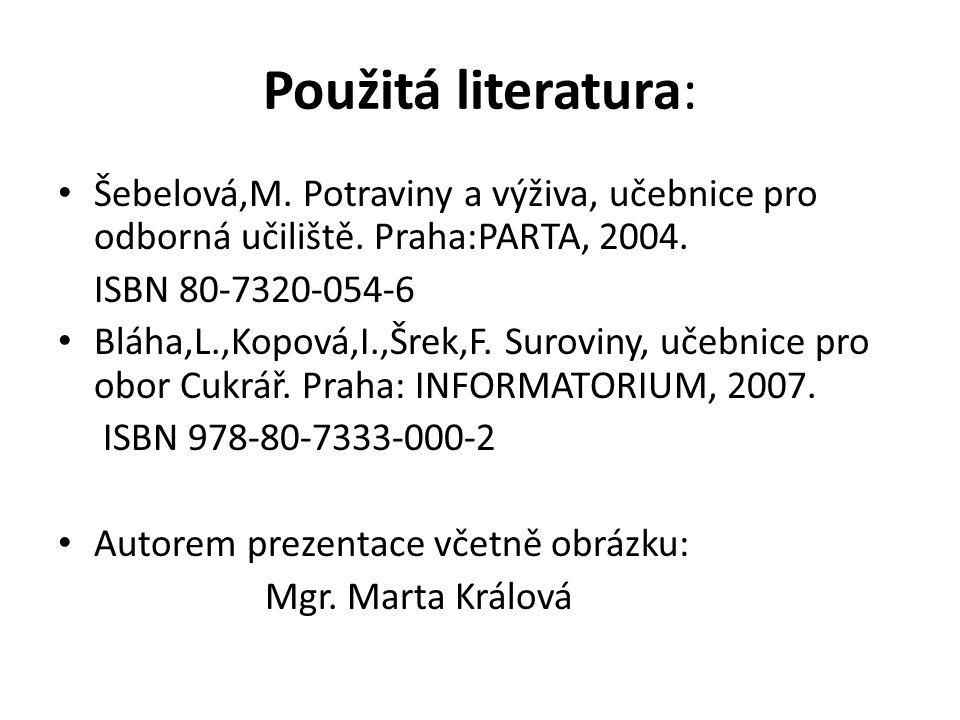 Použitá literatura: Šebelová,M. Potraviny a výživa, učebnice pro odborná učiliště. Praha:PARTA, 2004. ISBN 80-7320-054-6 Bláha,L.,Kopová,I.,Šrek,F. Su