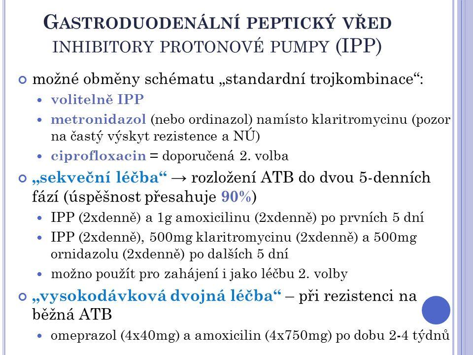 """G ASTRODUODENÁLNÍ PEPTICKÝ VŘED INHIBITORY PROTONOVÉ PUMPY (IPP) možné obměny schématu """"standardní trojkombinace : volitelně IPP metronidazol (nebo ordinazol) namísto klaritromycinu (pozor na častý výskyt rezistence a NÚ) ciprofloxacin = doporučená 2."""