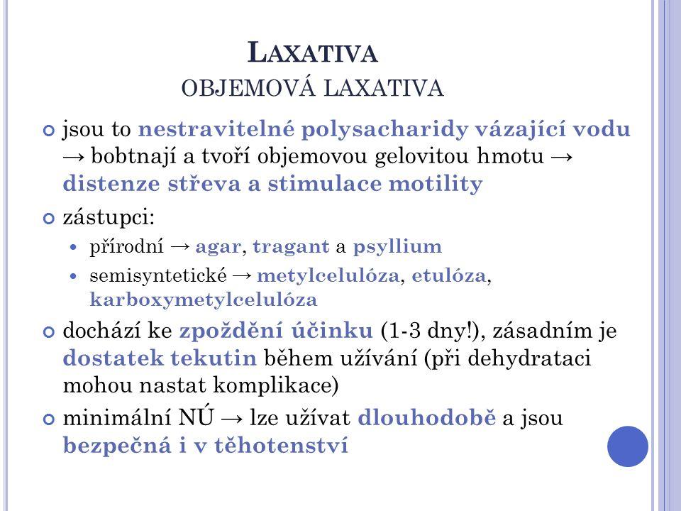 L AXATIVA OBJEMOVÁ LAXATIVA jsou to nestravitelné polysacharidy vázající vodu → bobtnají a tvoří objemovou gelovitou hmotu → distenze střeva a stimulace motility zástupci: přírodní → agar, tragant a psyllium semisyntetické → metylcelulóza, etulóza, karboxymetylcelulóza dochází ke zpoždění účinku (1-3 dny!), zásadním je dostatek tekutin během užívání (při dehydrataci mohou nastat komplikace) minimální NÚ → lze užívat dlouhodobě a jsou bezpečná i v těhotenství