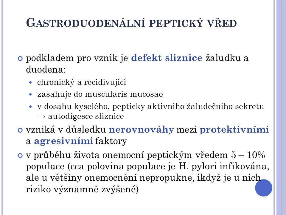 G ASTRODUODENÁLNÍ PEPTICKÝ VŘED ETIOLOGIE primární vředová choroba diagnostikovaná infekce Helicobacter pylori jako hlavní nebo jediný faktor