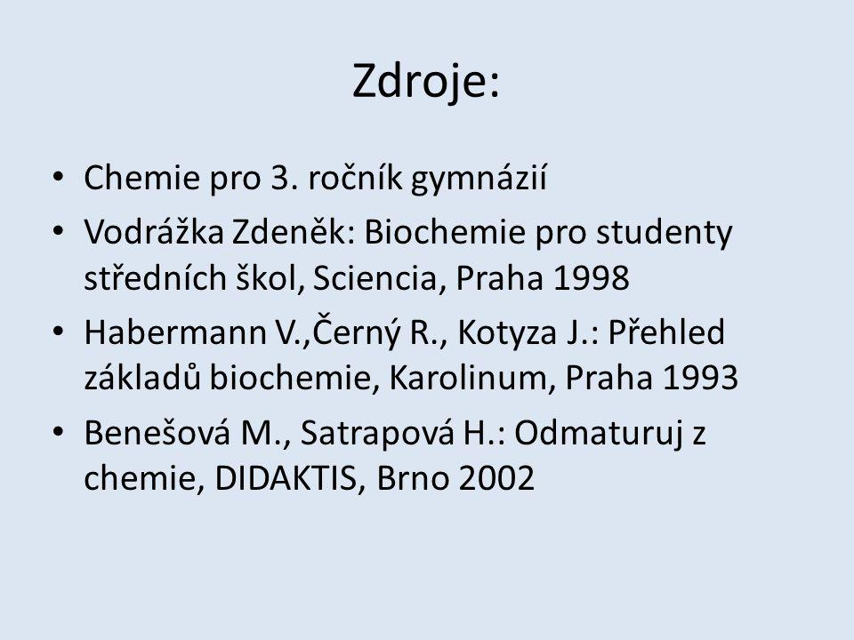 Zdroje: Chemie pro 3. ročník gymnázií Vodrážka Zdeněk: Biochemie pro studenty středních škol, Sciencia, Praha 1998 Habermann V.,Černý R., Kotyza J.: P
