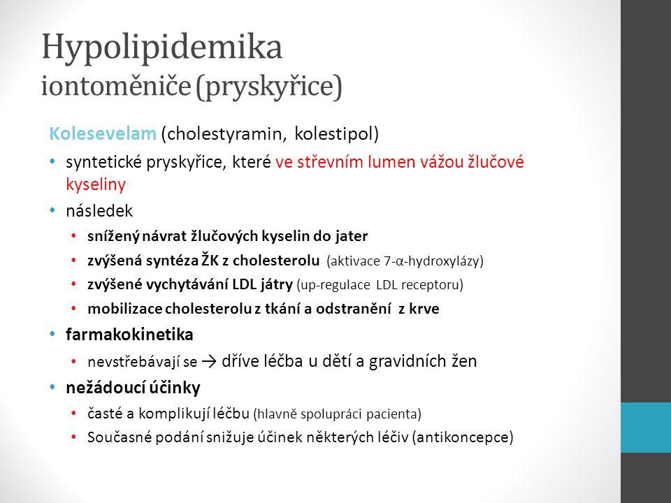 Hypolipidemika iontoměniče (pryskyřice) Kolesevelam (cholestyramin, kolestipol) syntetické pryskyřice, které ve střevním lumen vážou žlučové kyseliny