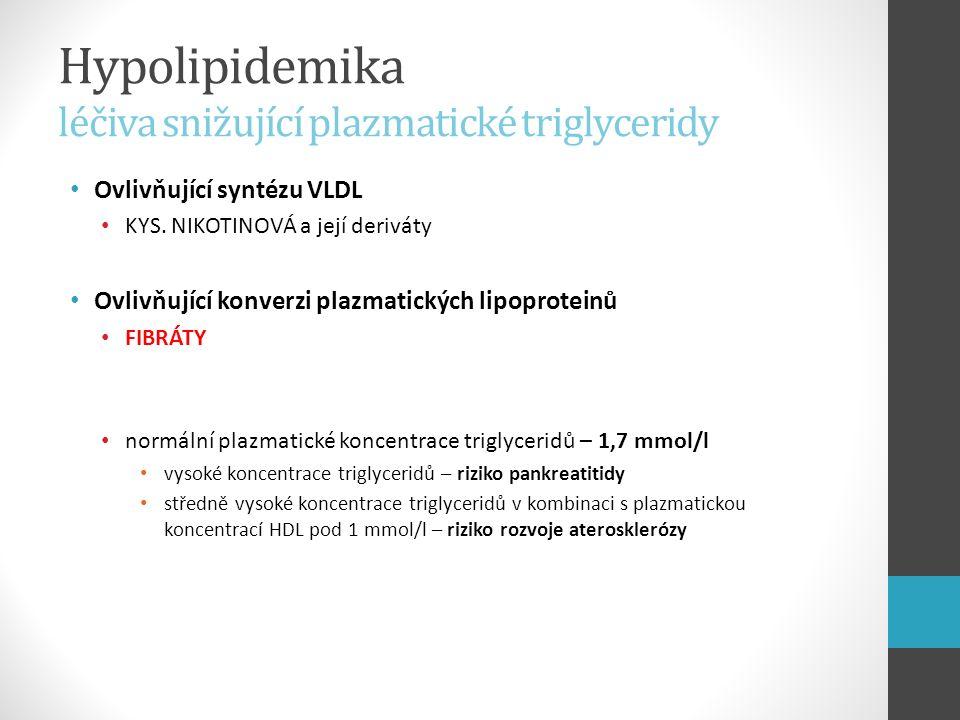 Hypolipidemika léčiva snižující plazmatické triglyceridy Ovlivňující syntézu VLDL KYS. NIKOTINOVÁ a její deriváty Ovlivňující konverzi plazmatických l