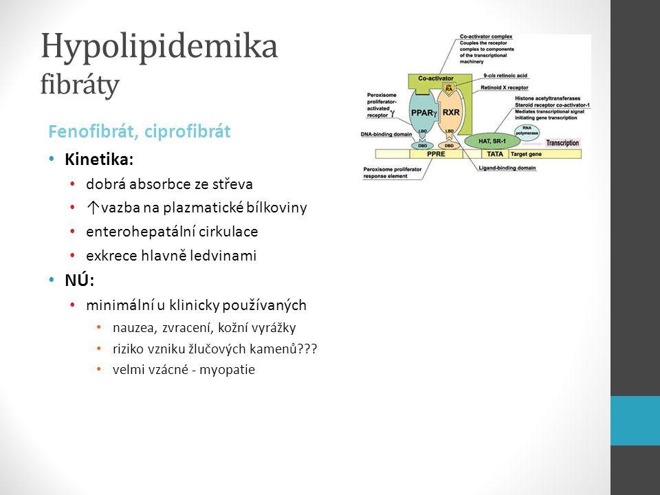 Hypolipidemika fibráty Fenofibrát, ciprofibrát Kinetika: dobrá absorbce ze střeva ↑vazba na plazmatické bílkoviny enterohepatální cirkulace exkrece hl