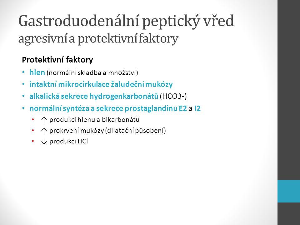 Gastroduodenální peptický vřed agresivní a protektivní faktory Protektivní faktory hlen (normální skladba a množství) intaktní mikrocirkulace žaludečn