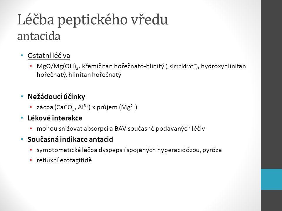 """Léčba peptického vředu antacida Ostatní léčiva MgO/Mg(OH) 2, křemičitan hořečnato-hlinitý (""""simaldrát""""), hydroxyhlinitan hořečnatý, hlinitan hořečnatý"""