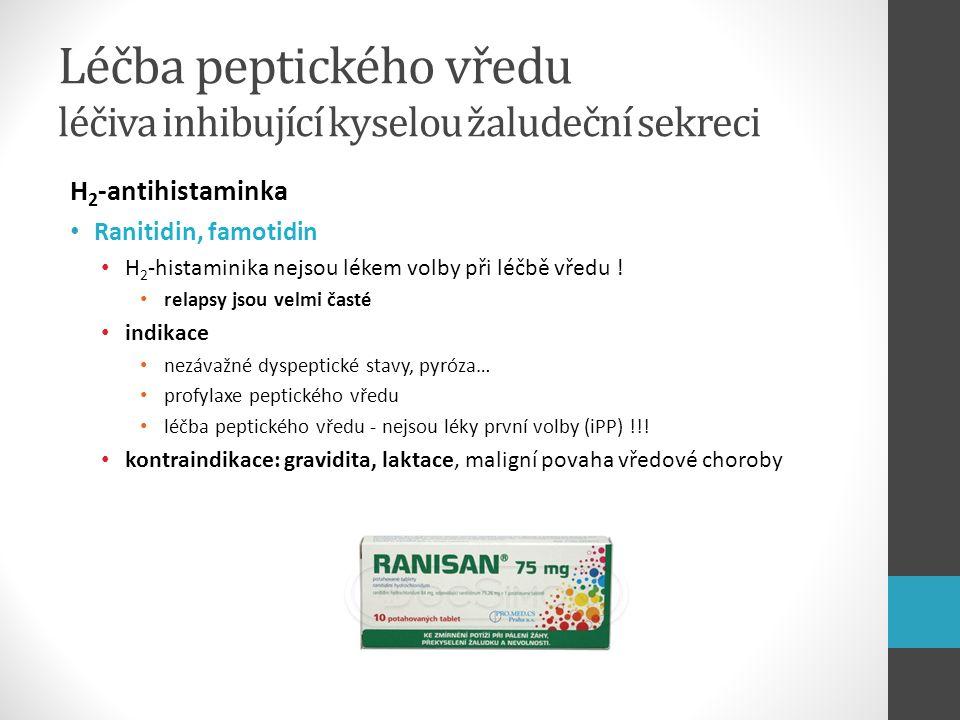 Léčba peptického vředu léčiva inhibující kyselou žaludeční sekreci H 2 -antihistaminka Ranitidin, famotidin H 2 -histaminika nejsou lékem volby při lé