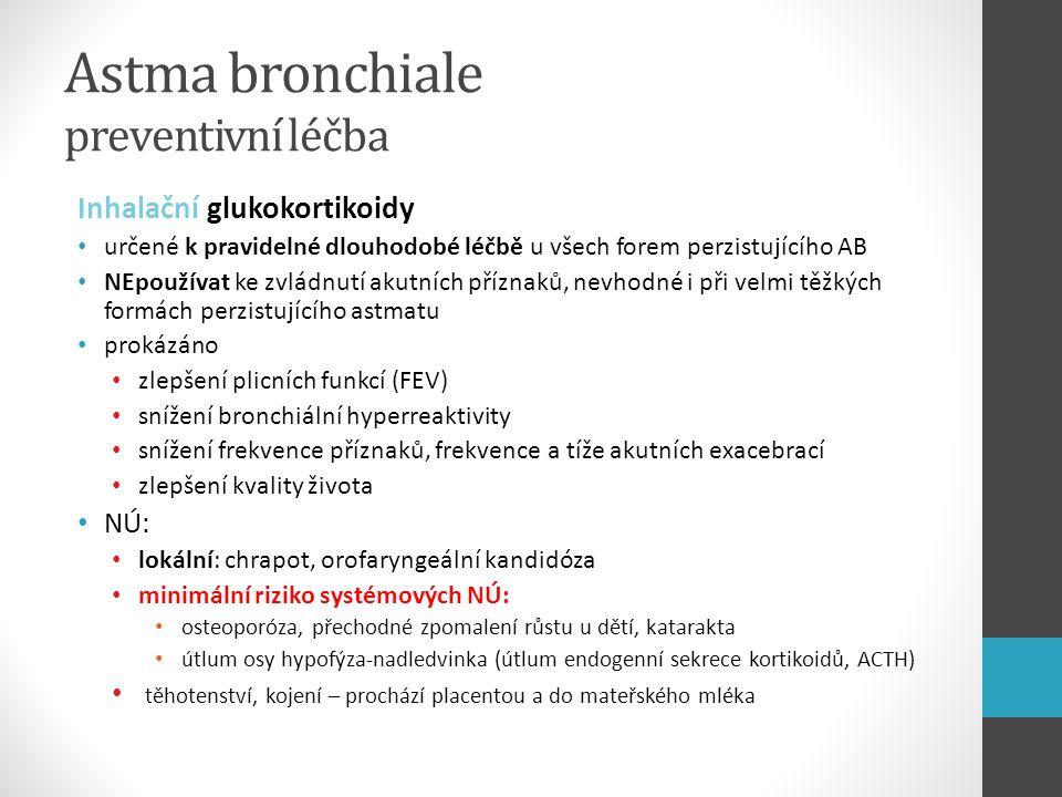 Astma bronchiale preventivní léčba Inhalační glukokortikoidy určené k pravidelné dlouhodobé léčbě u všech forem perzistujícího AB NEpoužívat ke zvládn