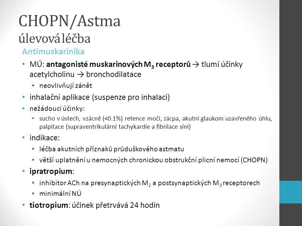 CHOPN/Astma úlevová léčba Antimuskarinika MÚ: antagonisté muskarinových M 3 receptorů → tlumí účinky acetylcholinu → bronchodilatace neovlivňují zánět