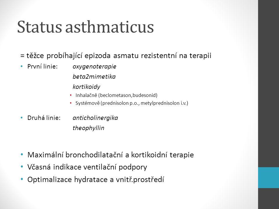 Status asthmaticus = těžce probíhající epizoda asmatu rezistentní na terapii První linie: oxygenoterapie beta2mimetika kortikoidy Inhalačně (beclometa