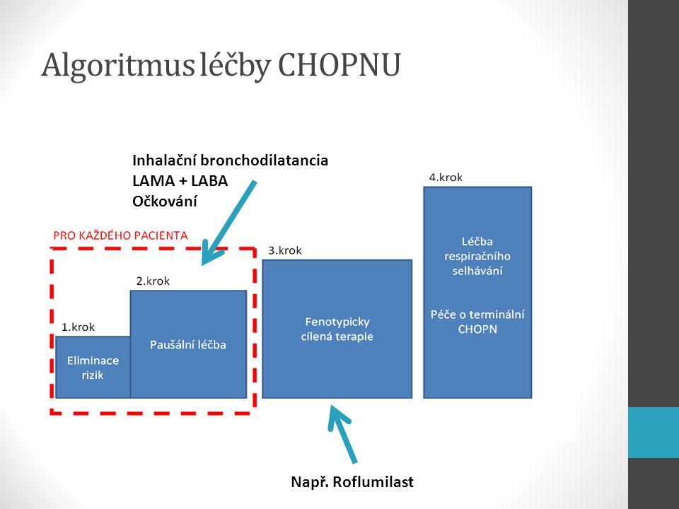Algoritmus léčby CHOPNU Inhalační bronchodilatancia LAMA + LABA Očkování Např. Roflumilast