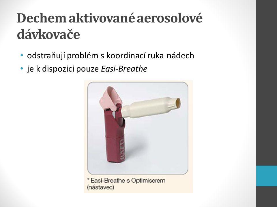 Dechem aktivované aerosolové dávkovače odstraňují problém s koordinací ruka-nádech je k dispozici pouze Easi-Breathe
