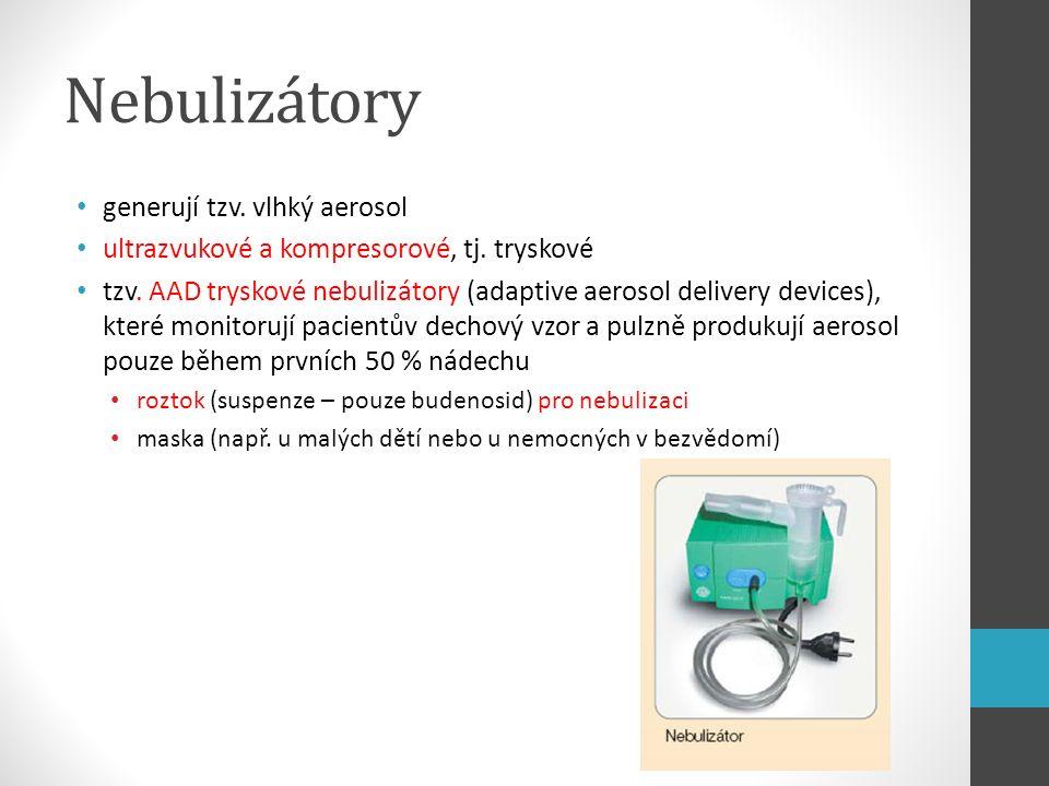 Nebulizátory generují tzv. vlhký aerosol ultrazvukové a kompresorové, tj. tryskové tzv. AAD tryskové nebulizátory (adaptive aerosol delivery devices),