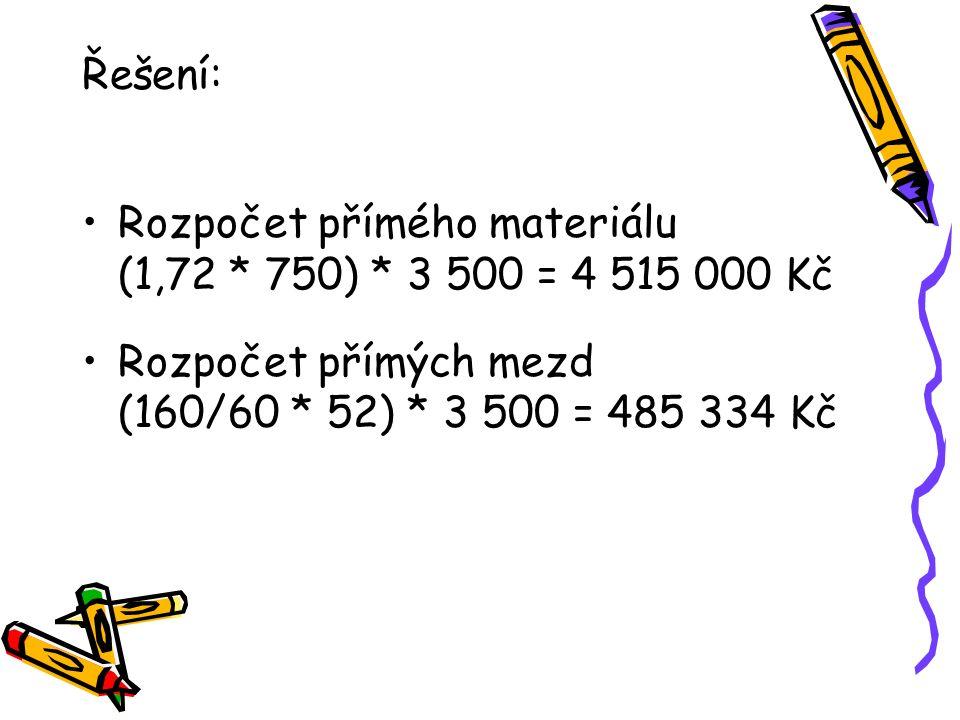Řešení: Rozpočet přímého materiálu (1,72 * 750) * 3 500 = 4 515 000 Kč Rozpočet přímých mezd (160/60 * 52) * 3 500 = 485 334 Kč