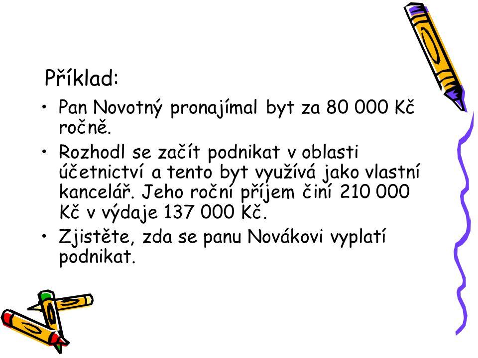 Příklad: Pan Novotný pronajímal byt za 80 000 Kč ročně. Rozhodl se začít podnikat v oblasti účetnictví a tento byt využívá jako vlastní kancelář. Jeho