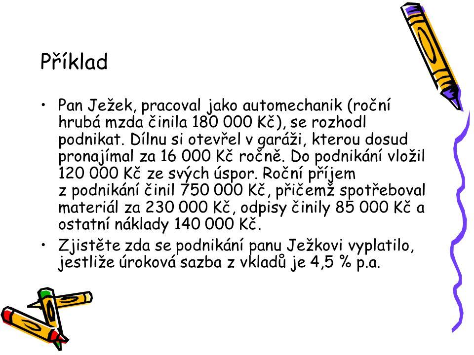 Příklad Pan Ježek, pracoval jako automechanik (roční hrubá mzda činila 180 000 Kč), se rozhodl podnikat.