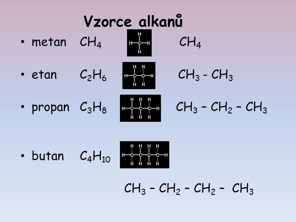 metanCH 4 CH 4 etanC 2 H 6 CH 3 - CH 3 propanC 3 H 8 CH 3 – CH 2 – CH 3 butanC 4 H 10 CH 3 – CH 2 – CH 2 – CH 3 Vzorce alkanů