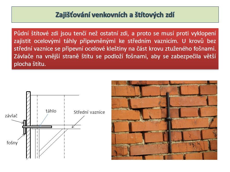 Půdní štítové zdi jsou tenčí než ostatní zdi, a proto se musí proti vyklopení zajistit ocelovými táhly připevněnými ke středním vaznicím.