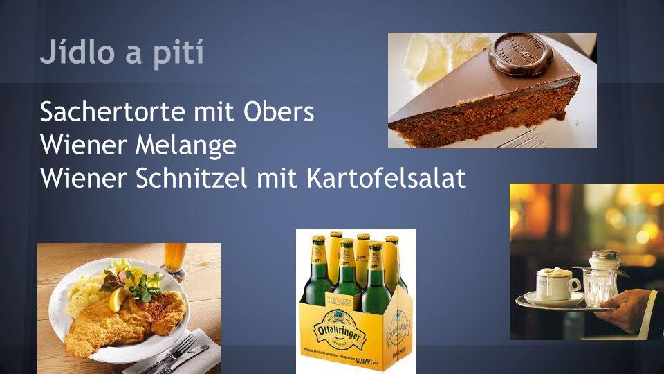 Jídlo a pití Sachertorte mit Obers Wiener Melange Wiener Schnitzel mit Kartofelsalat