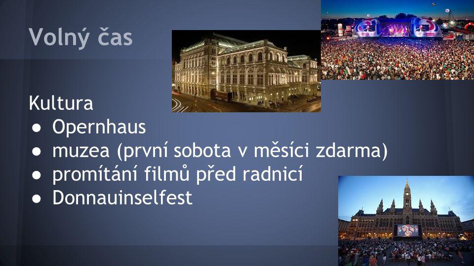 Volný čas Kultura ● Opernhaus ● muzea (první sobota v měsíci zdarma) ● promítání filmů před radnicí ● Donnauinselfest