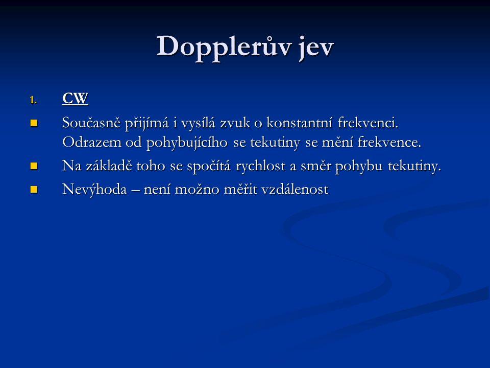 Dopplerův jev 1. CW Současně přijímá i vysílá zvuk o konstantní frekvenci.