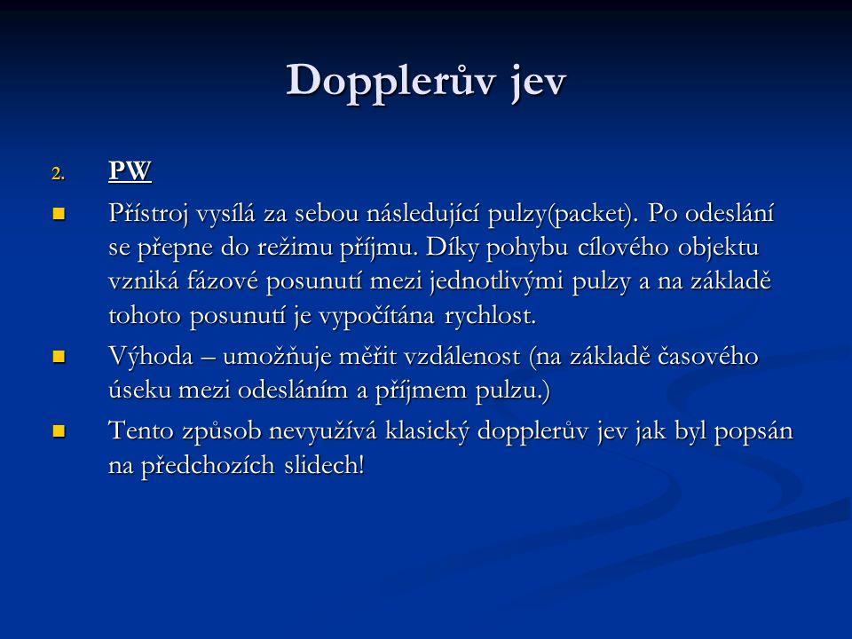 Dopplerův jev 2. PW Přístroj vysílá za sebou následující pulzy(packet).