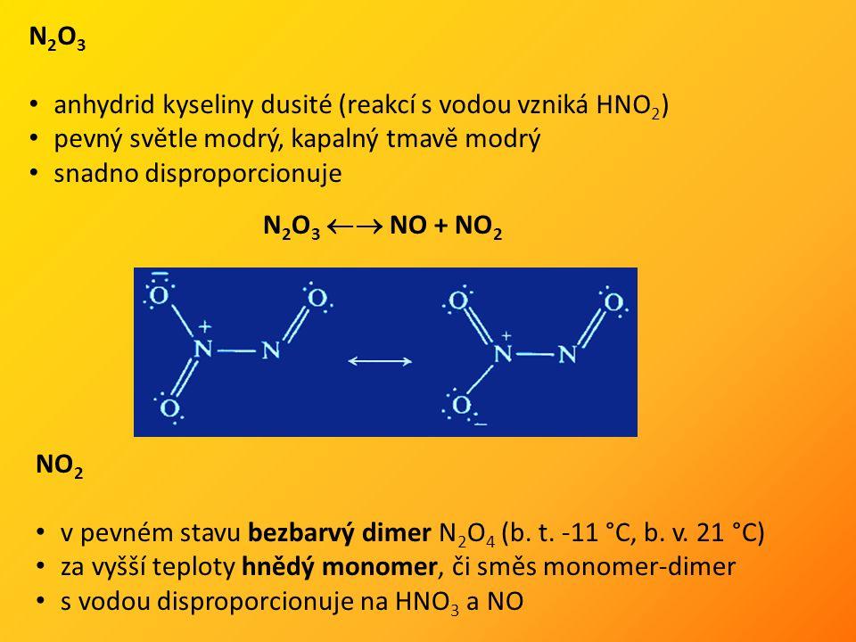 N 2 O 3 anhydrid kyseliny dusité (reakcí s vodou vzniká HNO 2 ) pevný světle modrý, kapalný tmavě modrý snadno disproporcionuje N 2 O 3  NO + NO 2 NO 2 v pevném stavu bezbarvý dimer N 2 O 4 (b.