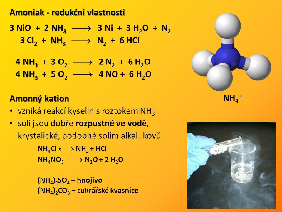 NH 3 3 NiO + 2 NH 3  3 Ni + 3 H 2 O + N 2 NH 3 3 Cl 2 + NH 3  N 2 + 6 HCl NH 3 4 NH 3 + 3 O 2  2 N 2 + 6 H 2 O NH 3 4 NH 3 + 5 O 2  4 NO + 6 H 2 O Amoniak - redukční vlastnosti Amonný kation vzniká reakcí kyselin s roztokem NH 3 soli jsou dobře rozpustné ve vodě, krystalické, podobné solím alkal.