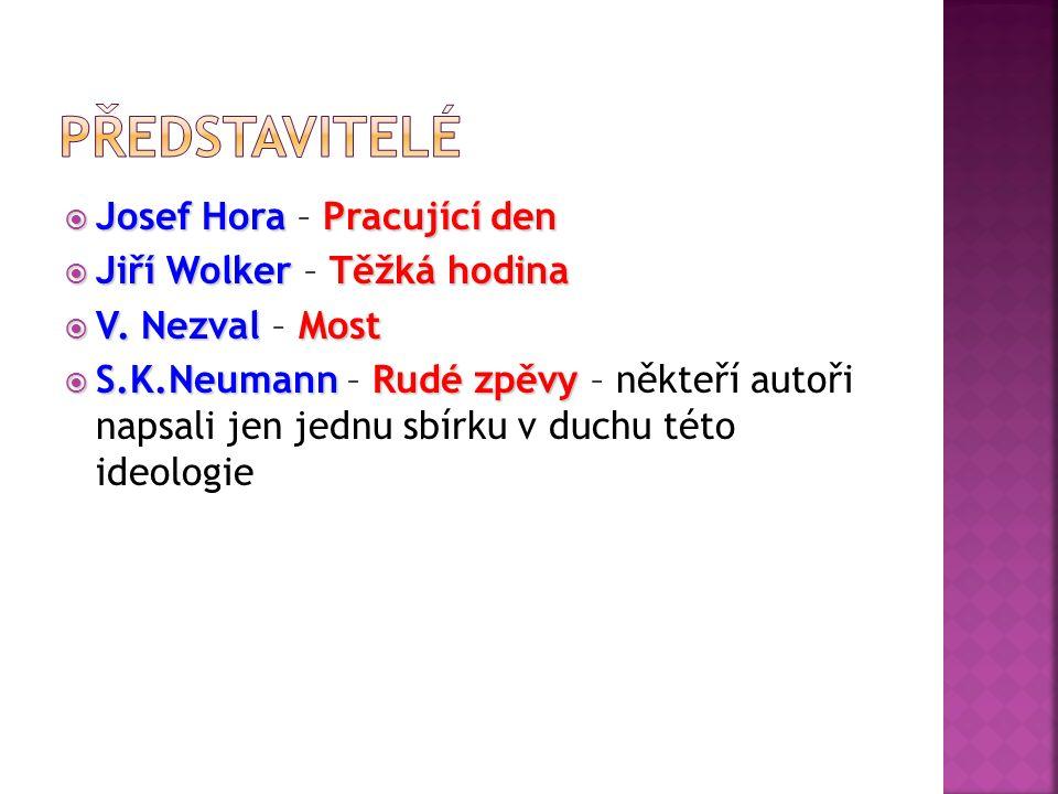  Josef HoraPracující den  Josef Hora – Pracující den  Jiří WolkerTěžká hodina  Jiří Wolker – Těžká hodina  V.