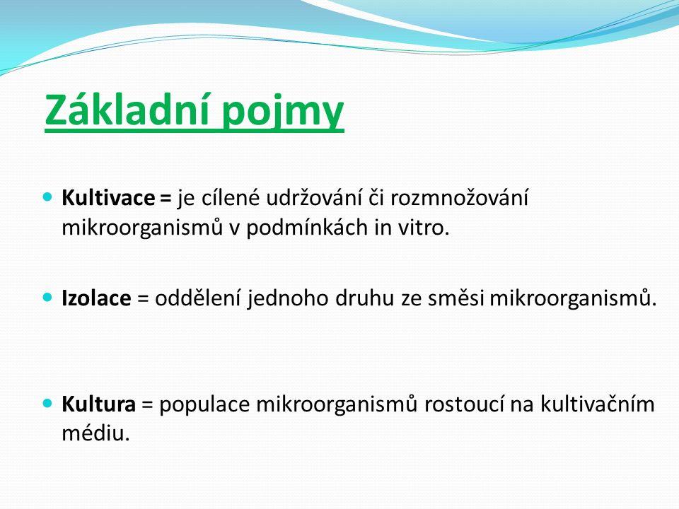 Základní pojmy Kultivace = je cílené udržování či rozmnožování mikroorganismů v podmínkách in vitro.