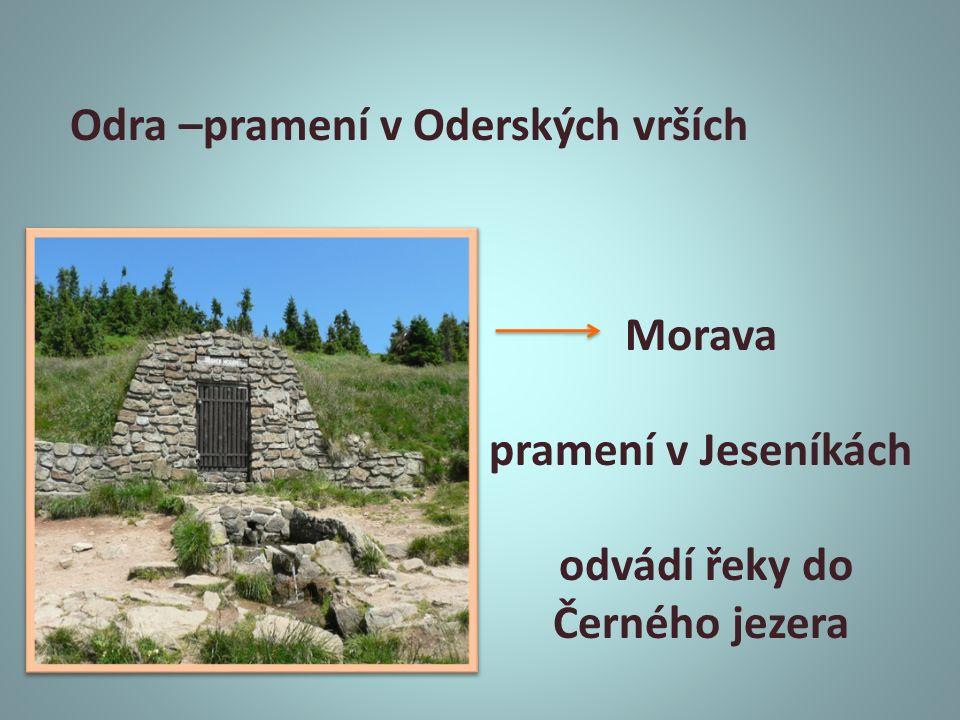 Odra –pramení v Oderských vrších Morava pramení v Jeseníkách odvádí řeky do Černého jezera