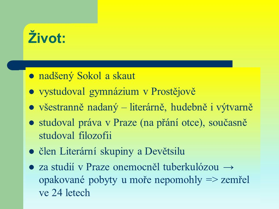 Anotace: Prezentace seznamuje s životem a dílem Jiřího Wolkera.