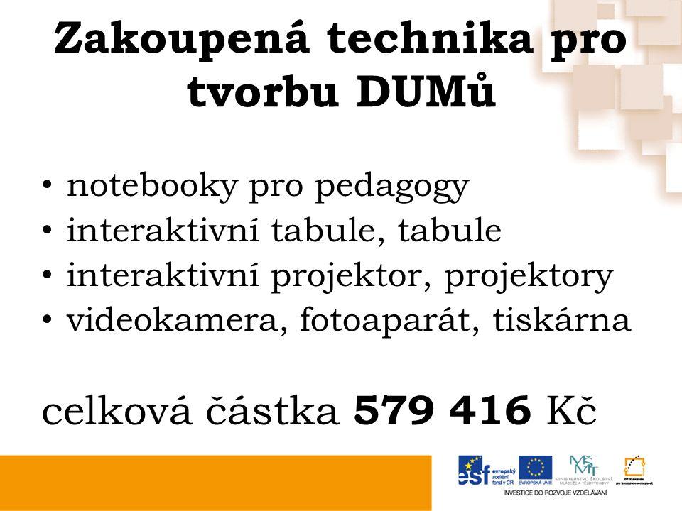 Zakoupená technika pro tvorbu DUMů notebooky pro pedagogy interaktivní tabule, tabule interaktivní projektor, projektory videokamera, fotoaparát, tiskárna celková částka 579 416 Kč