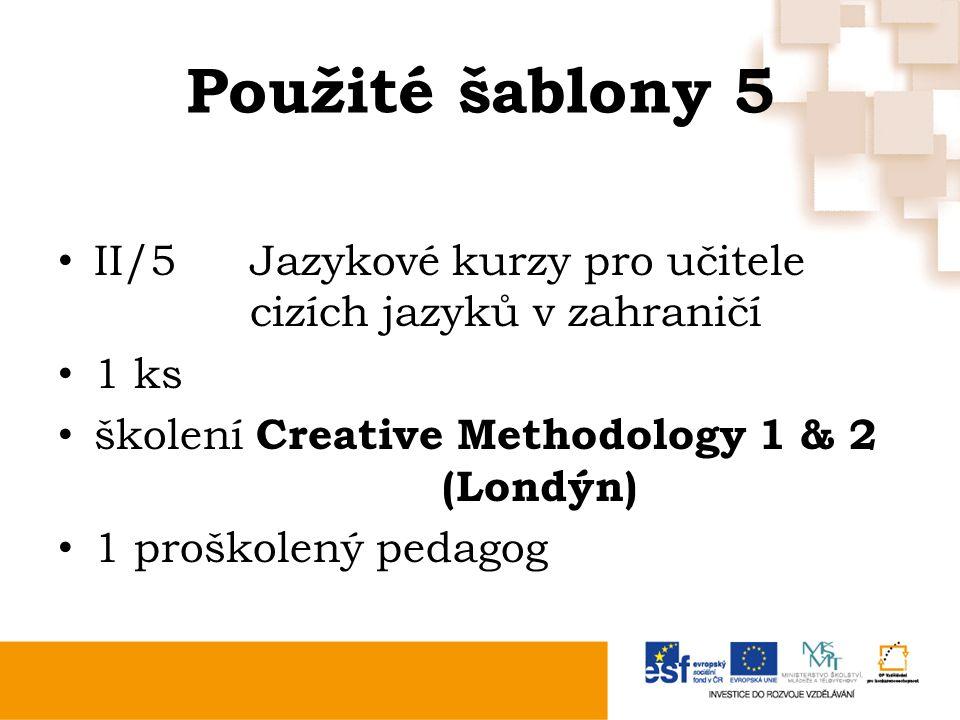 Použité šablony 5 II/5Jazykové kurzy pro učitele cizích jazyků v zahraničí 1 ks školení Creative Methodology 1 & 2 (Londýn) 1 proškolený pedagog