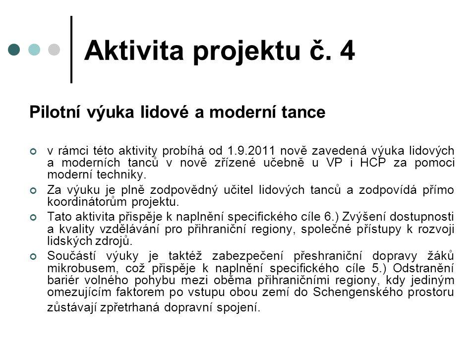 Pilotní výuka lidové a moderní tance v rámci této aktivity probíhá od 1.9.2011 nově zavedená výuka lidových a moderních tanců v nově zřízené učebně u VP i HCP za pomoci moderní techniky.