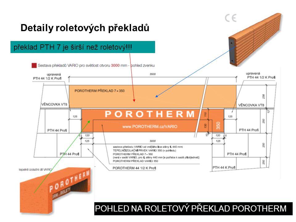 Detaily roletových překladů POHLED NA ROLETOVÝ PŘEKLAD POROTHERM překlad PTH 7 je širší než roletový!!!
