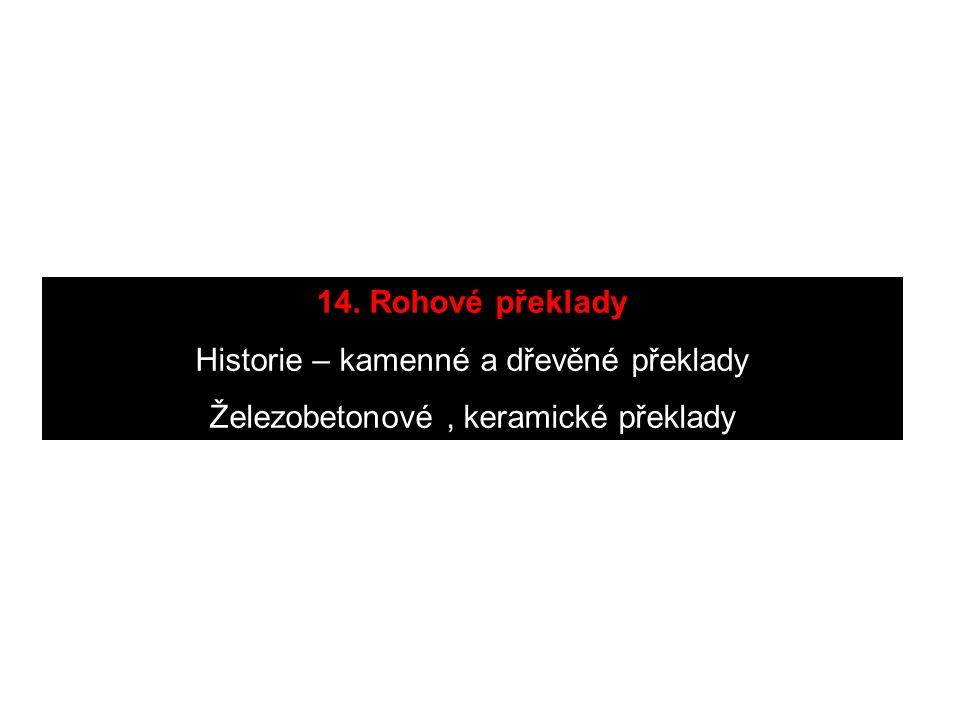 14. Rohové překlady Historie – kamenné a dřevěné překlady Železobetonové, keramické překlady