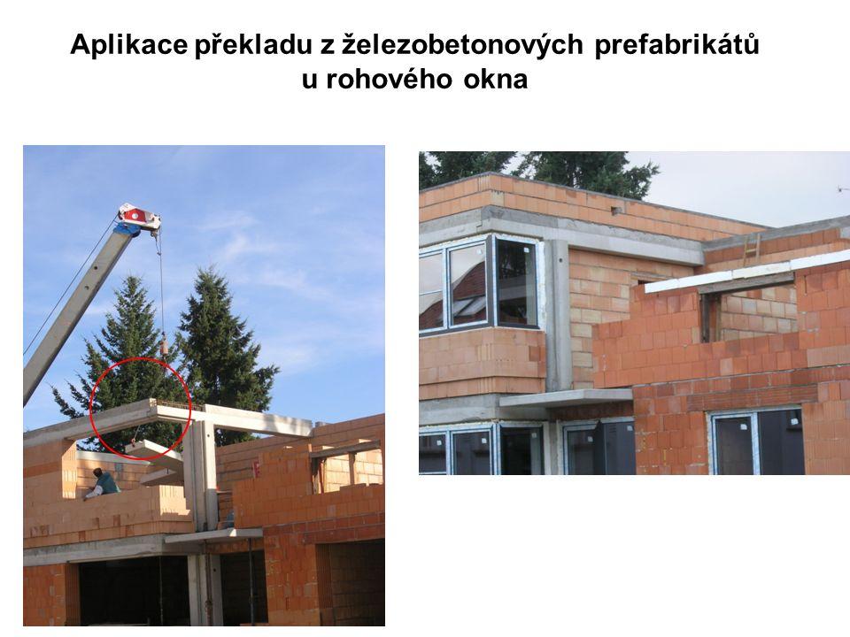 Aplikace překladu z železobetonových prefabrikátů u rohového okna