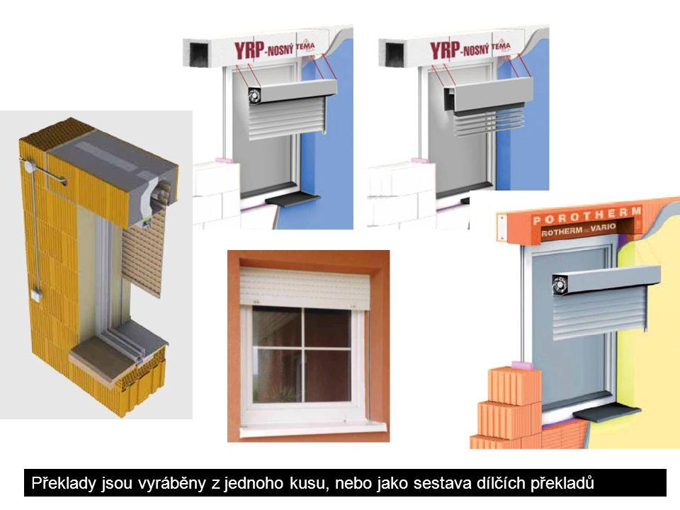 Detaily roletových překladů pro keramické zdivo z 1ks Roletový /žaluziový/ překlad HELUZ pro světlost otvoru 600-3850 mm