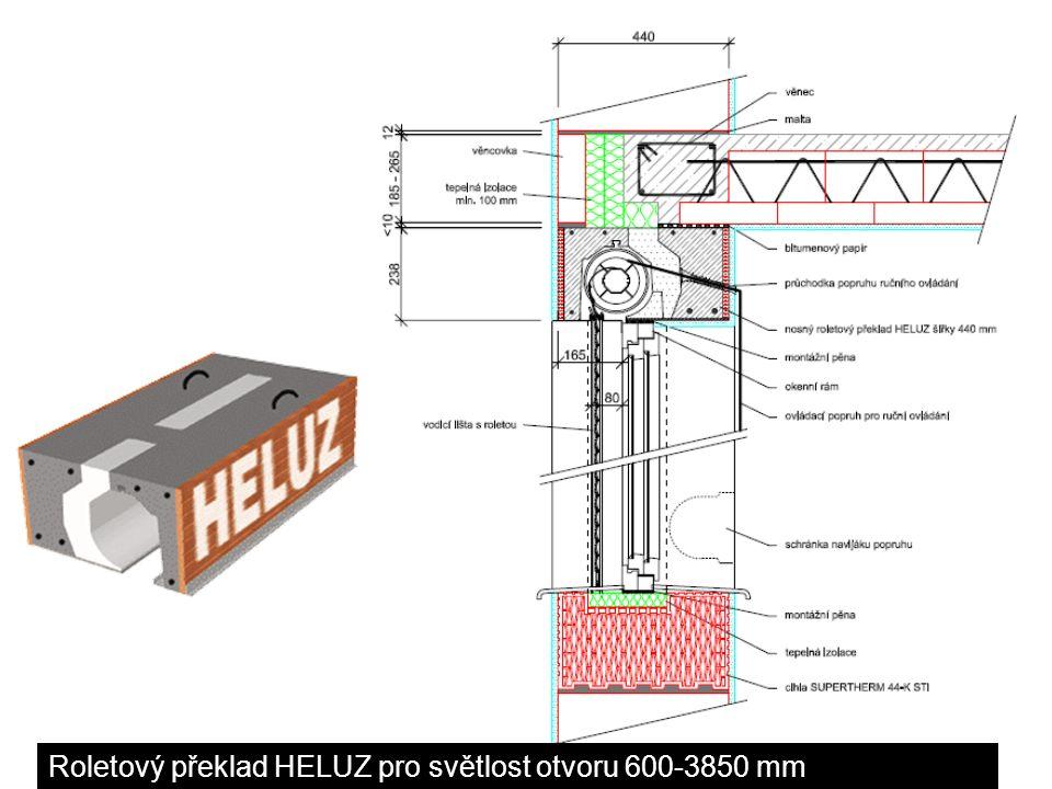 Roletový /žaluziový/ překlad YRP TEMA pro světlost otvoru od 600 do 2700mm Detaily roletových překladů pro pórobetonového zdivo překlad z 1ks