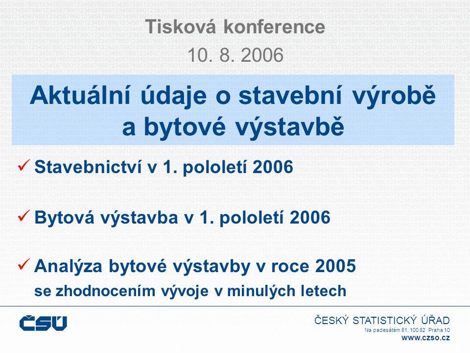 ČESKÝ STATISTICKÝ ÚŘAD Na padesátém 81, 100 82 Praha 10 www.czso.cz Aktuální údaje o stavební výrobě a bytové výstavbě Tisková konference 10.