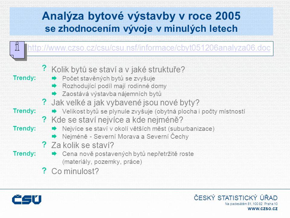 ČESKÝ STATISTICKÝ ÚŘAD Na padesátém 81, 100 82 Praha 10 www.czso.cz Analýza bytové výstavby v roce 2005 se zhodnocením vývoje v minulých letech Kolik bytů se staví a v jaké struktuře.