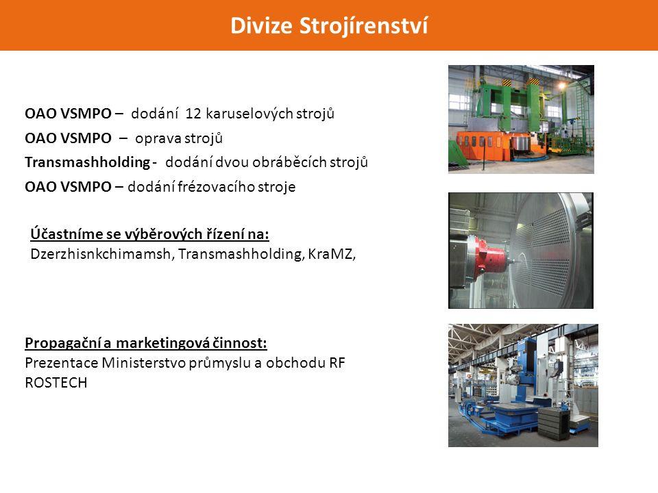 Divize Strojírenství Účastníme se výběrových řízení na: Dzerzhisnkchimamsh, Transmashholding, KraMZ, OAO VSMPO – dodání 12 karuselových strojů OAO VSMPO – oprava strojů Transmashholding - dodání dvou obráběcích strojů OAO VSMPO – dodání frézovacího stroje Propagační a marketingová činnost: Prezentace Ministerstvo průmyslu a obchodu RF ROSTECH