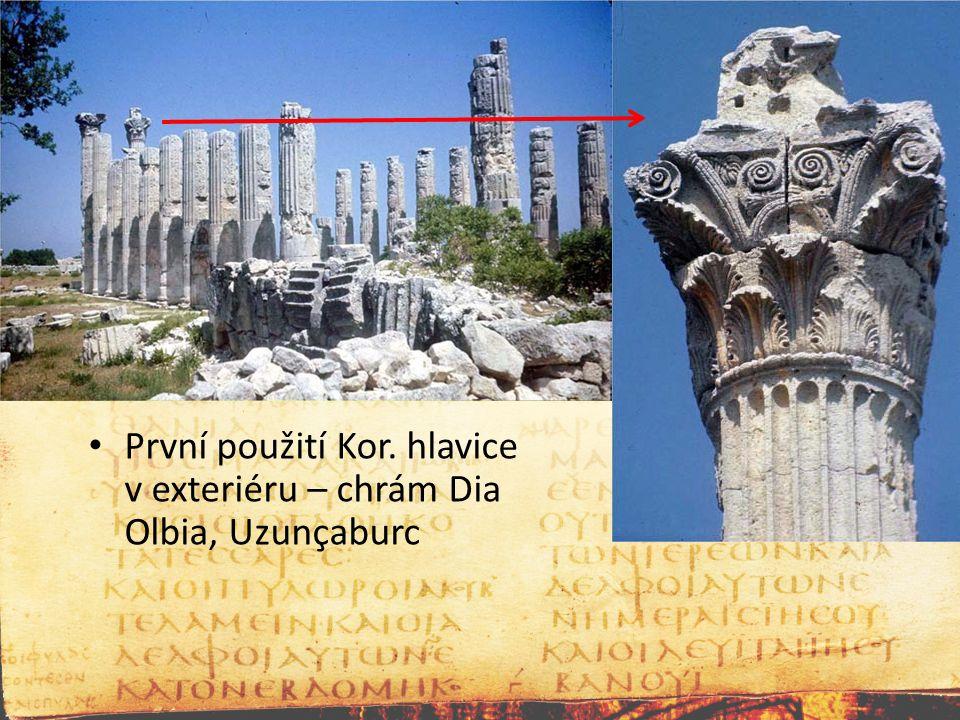 První použití Kor. hlavice v exteriéru – chrám Dia Olbia, Uzunçaburc