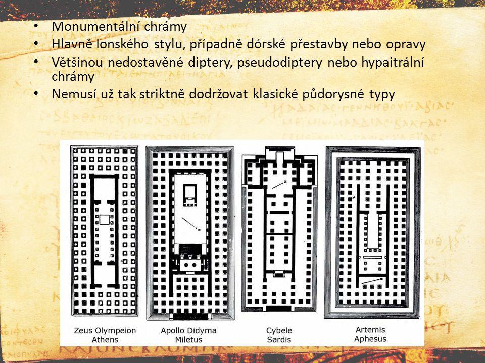 Monumentální chrámy Hlavně Ionského stylu, případně dórské přestavby nebo opravy Většinou nedostavěné diptery, pseudodiptery nebo hypaitrální chrámy N