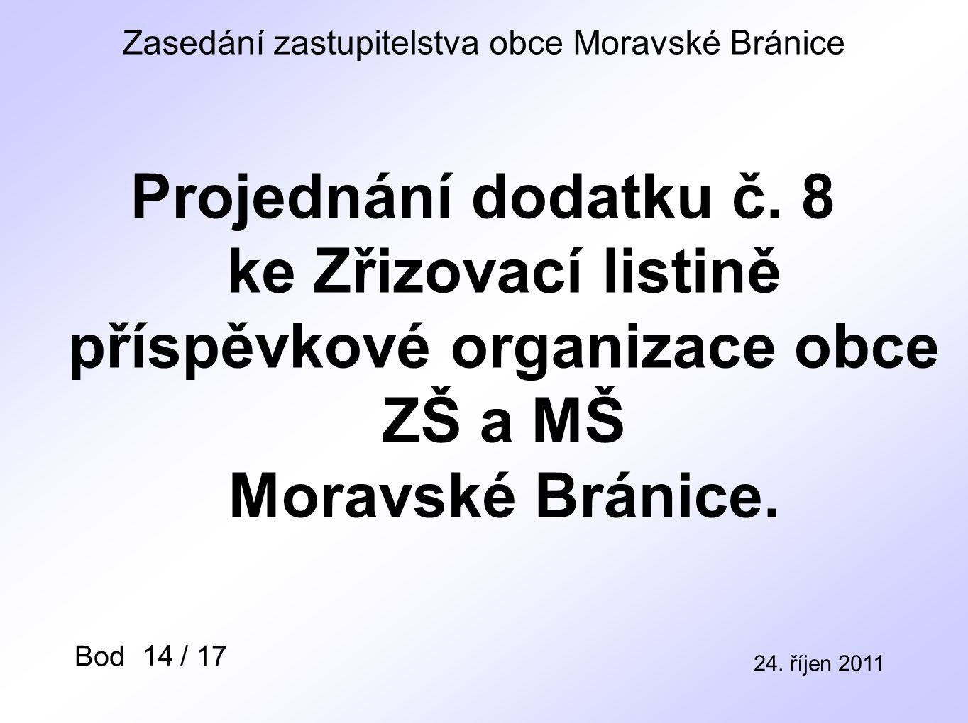 Zasedání zastupitelstva obce Moravské Bránice 24. říjen 2011 Bod / 17 Projednání dodatku č.