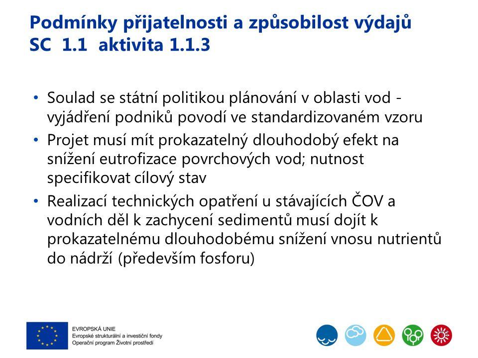 Podmínky přijatelnosti a způsobilost výdajů SC 1.1 aktivita 1.1.3 Soulad se státní politikou plánování v oblasti vod - vyjádření podniků povodí ve standardizovaném vzoru Projet musí mít prokazatelný dlouhodobý efekt na snížení eutrofizace povrchových vod; nutnost specifikovat cílový stav Realizací technických opatření u stávajících ČOV a vodních děl k zachycení sedimentů musí dojít k prokazatelnému dlouhodobému snížení vnosu nutrientů do nádrží (především fosforu) 11